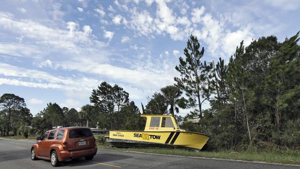 A boat marooned by the road in Dekle Beach, Florida, by winds from Hurricane Hermine (AP)