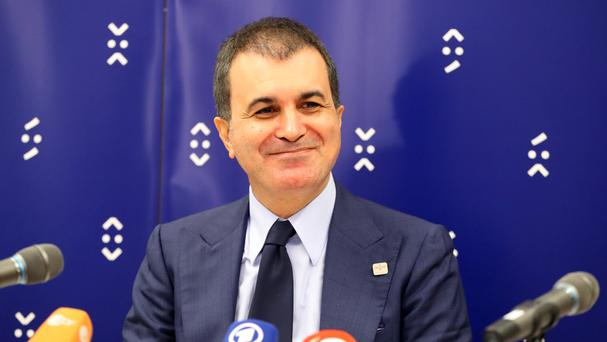 Turkey's minister for EU affairs Omer Celik after meeting EU foreign ministers in Bratislava, Slovakia (AP)