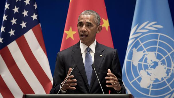 Barack Obama speaking in Hangzhou (AP)