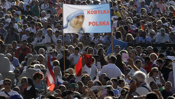 People at a Mass celebrated by Pope Francis where Mother Teresa was canonised (AP)