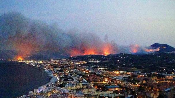 A wildfire raging in Javea, near Benidorm, Spain (Claire Edwards/PA)
