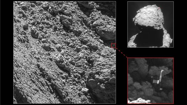The European Space Agency's Rosetta space probe locating its lost Philae lander (European Space Agency/PA)