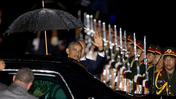 US President Barack Obama arrives at Wattay International Airport in Vientiane, Laos (AP)