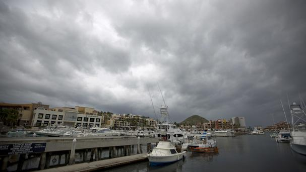 Boats wait to be taken out of the water as they prepare for the arrival of Hurricane Newton in Cabo San Lucas (AP)