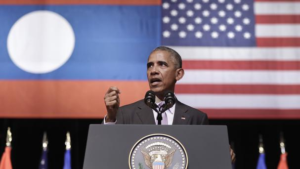 US President Barack Obama speaks at the Lao National Cultural Hall in Vientiane, Laos (AP)