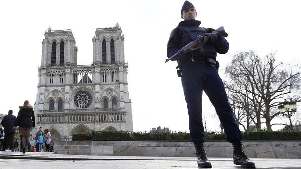 The car was discovered along the Seine River near Notre Dame Cathedral in Paris (AP)