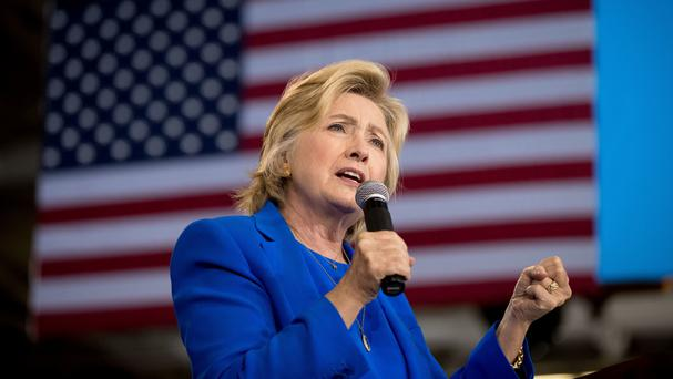 Democratic presidential candidate Hillary Clinton speaks at a rally in Charlotte, North Carolina (AP)