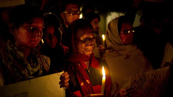 Acid attack survivors mark the second anniversary of the deadly gang rape of a student on a bus in New Delhi (AP)