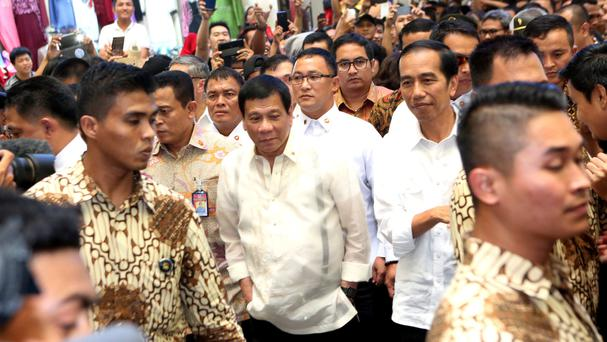 Philippine president Rodrigo Duterte is currently on a two-day visit to Indonesia (AP)