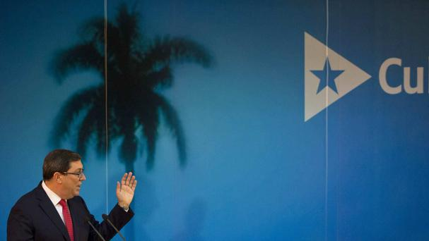 Cuban foreign minister Bruno Rodriguez gives a news conference about the government's annual report in Havana (AP)