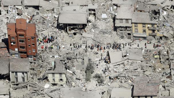 Damaged buildings in the town of Amatrice, central Italy, after an earthquake (AP)