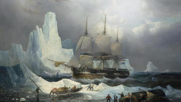 A painting of the HMS Erebus, the British ship that was discovered in 2014, as the expedition's second vessel HMS Terror has been found