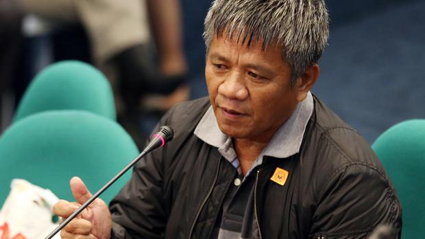 Former militiaman Edgar Matobato testifies before the Philippine Senate (AP)