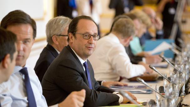 French president Francois Hollande during an EU summit at Bratislava Castle (AP)
