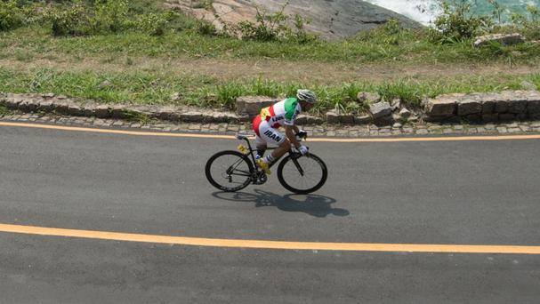 Bahman Golbarnezhad competing in the men's road race C4-5 - the Iranian died after crashing
