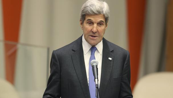 Secretary of State John Kerry met with Russian Foreign Minister Sergey Lavrov in a New York hotel in a last-ditch bid to save Syria's week-old truce (AP)