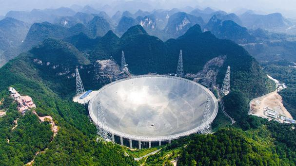 An aerial view shows the Aperture Spherical Telescope in the remote Pingtang county in south-west China's Guizhou province (Liu Xu/Xinhua/AP)