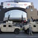 National Guard vehicles in front of an entrance to the Bank of America Stadium before an NFL game between the Carolina Panthers and the Minnesota Vikings in Charlotte (AP)