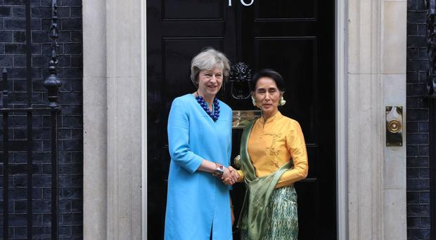 Prime Minister Theresa May welcomed Aung San Suu Kyi to Downing Street recently