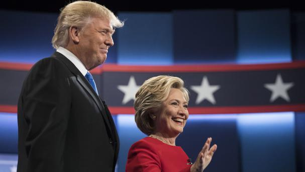Hillary Clinton and Donald Trump at the start of the presidential debate at Hofstra University (AP)