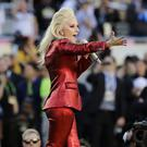 Lady Gaga sings the national anthem before the NFL Super Bowl 50 football game in Santa Clara, California (AP)