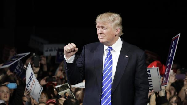 Republican presidential candidate Donald Trump at a rally in Michigan (AP)