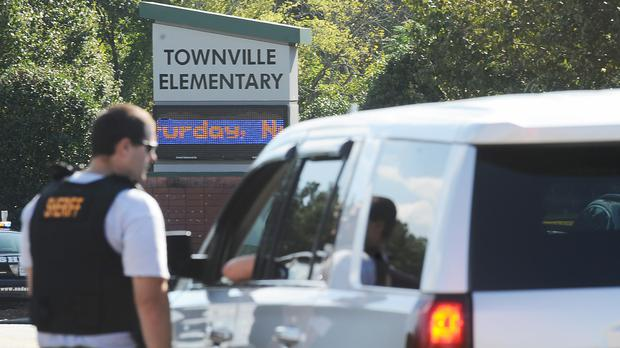 The scene at Townville Elementary School on Wednesday after the shooting (AP)