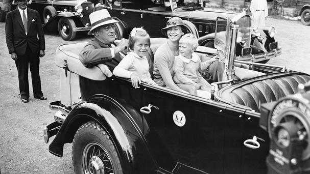 In a 1933 photo, US president Franklin D. Roosevelt sits in his car with his daughter Anna Eleanor Dall and her two children, Anna Eleanor Roosevelt, and Curtis Roosevelt (AP)