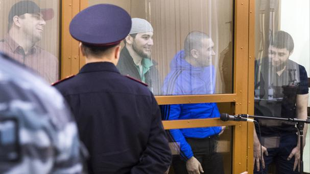 The suspects in the killing of opposition leader Boris Nemtsov appear in court in Moscow (AP)