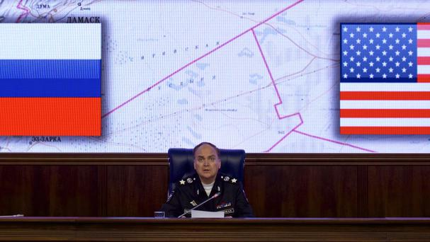 Russian deputy defence minister Anatoly Antonov speaks at a briefing in the defence ministry in Moscow (AP)