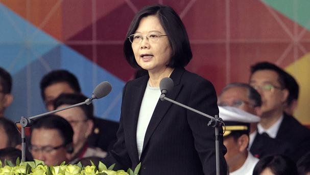 Taiwan's President Tsai Ing-wen delivers a speech during National Day celebrations in Taipei (AP)