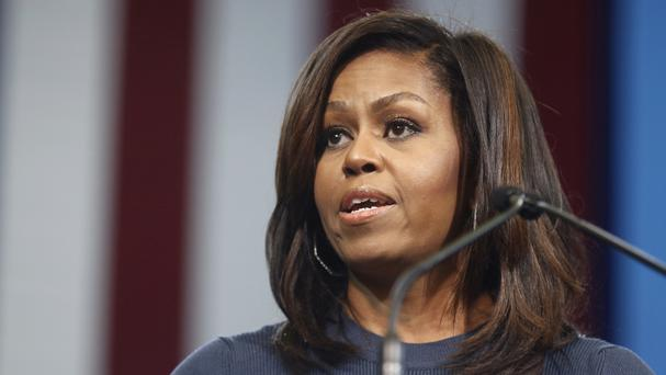 First lady Michelle Obama speaks during a campaign rally for Democratic presidential candidate Hillary Clinton (AP)