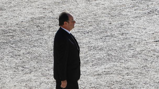 French President Francois Hollande arrives at a ceremony for the victims of the July 14 lorry attack in Nice (AP)