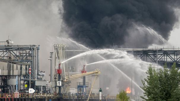 Black smoke rises from the scene of the explosion in Ludwigshafen, south-western Germany (AP)