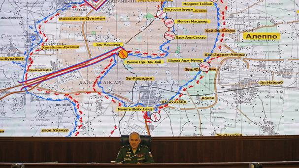 The Russian military says that Russian and Syrian warplanes are staying away from Aleppo a day before a temporary pause in the military push declared by Moscow (AP)