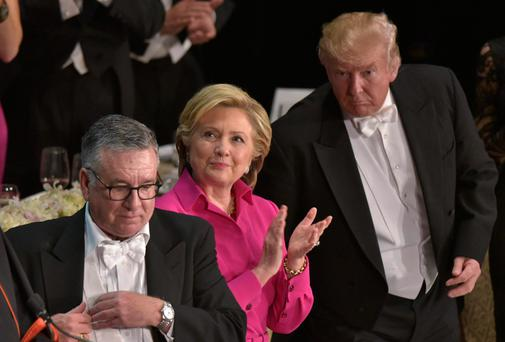 Hillary Clinton and Donald Trump at the Al Smith charity dinner in New York on Thursday night. Photo: Mandel Ngan/Getty