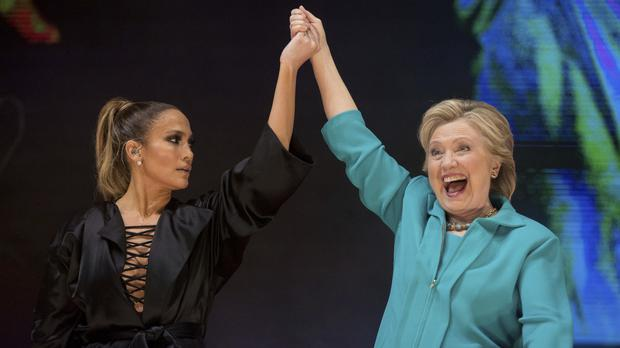 Hillary Clinton and Jennifer Lopez at a Get Out The Vote performance in Miami (AP)