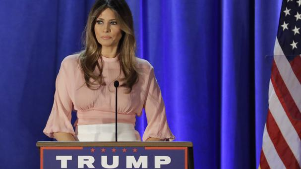 Melania Trump speaks in support of her husband (AP)