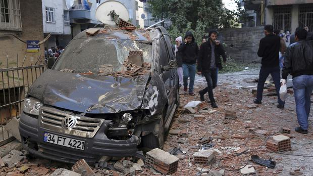 The aftermath of an explosion in the south-eastern Turkish city of Diyarbakir (AP)