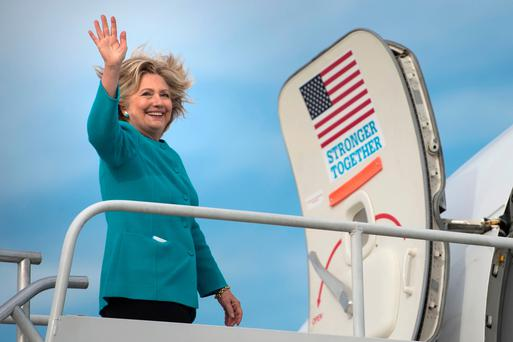 Hillary Clinton boards her plane in Philadelphia Picture: AFP/Getty