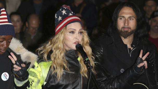 Madonna performs in support of Hillary Clinton at Washington Square Park in New York (AP)