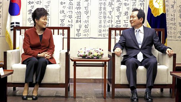 Park Geun-hye meets National Assembly Speaker Chung Sye-kyun at the National Assembly in Seoul (Yonhap/AP)