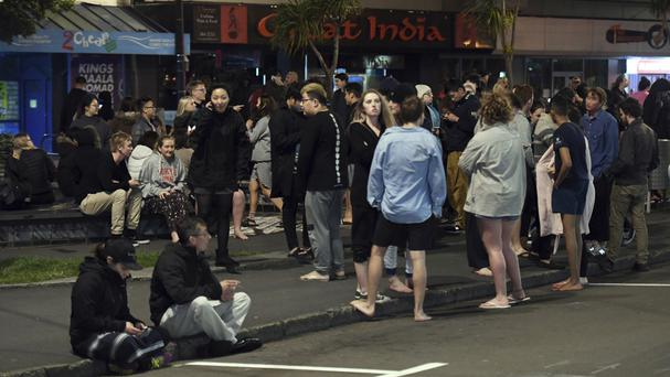 People evacuated from buildings after a 6.6 earthquake based around Cheviot in the South island shock New Zealand (AP)