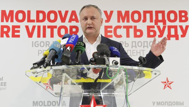 Socialist Party candidate Igor Dodon has declared victory in Moldova's presidential election (AP)