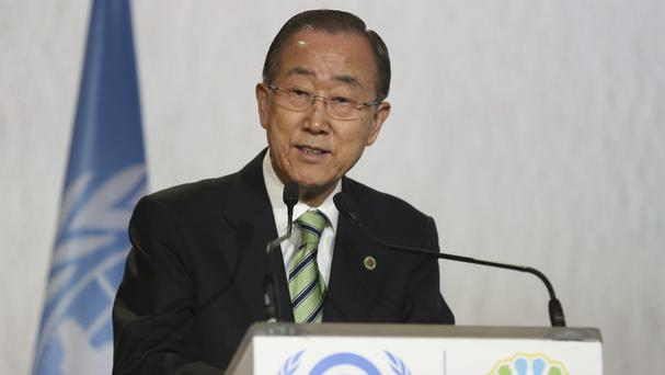 Ban Ki-moon speaks during the opening session of the UN climate conference in Marrakesh (AP)