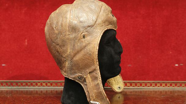 The leather cap of Captain Charles Lindbergh (AP)