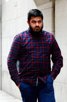 Witness taxi driver Rashid Hussain leaves the Jo Cox MP murder trial