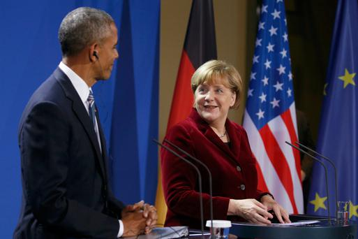 German Chancellor Angela Merkel speaks during a joint news conference with U.S. President Barack Obama in Berlin. Photo: Reuters