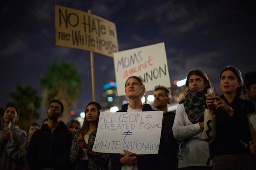 People protest in Los Angeles against Donald Trump's appointments to his incoming administration. Photo: Getty Images