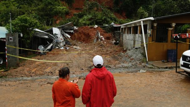 A mudslide on the outskirts of Panama City caused by Hurricane Otto (AP)